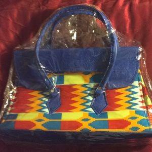 Handbags - Authentic Kente print Tote w/ faux leather straps